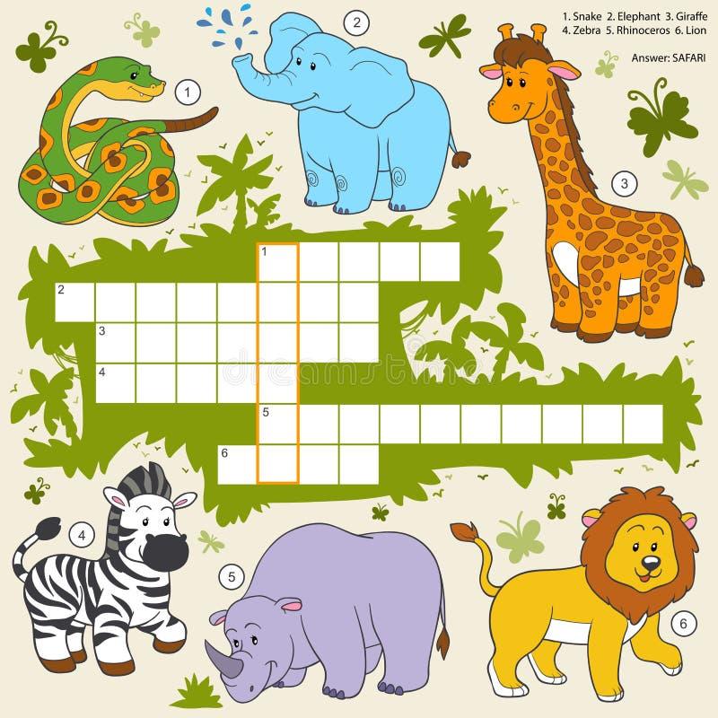 Vectorkleurenkruiswoordraadsel, onderwijsspel over safaridieren stock illustratie