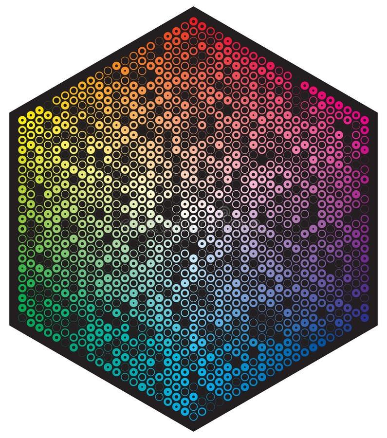 Vectorkleurenpalet Vele verschillende kleurencirkels in vorm van hexagon patroon royalty-vrije illustratie