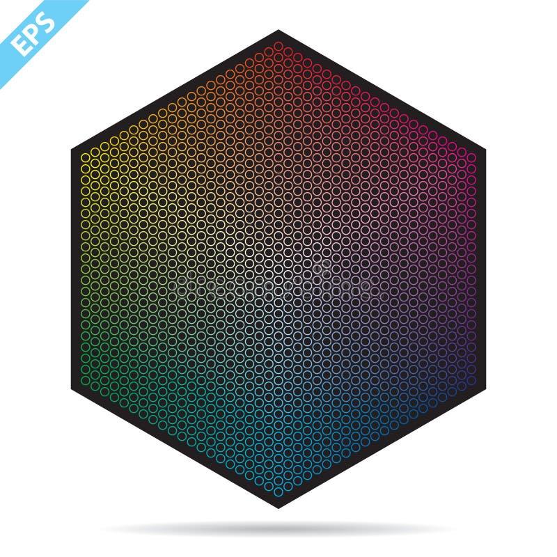 Vectorkleurenpalet 1261 verschillende kleuren in kleine cirkels in een vorm van zeshoek royalty-vrije illustratie