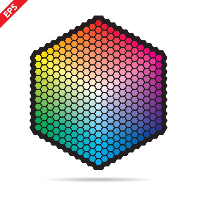 Vectorkleurenpalet 331 verschillende kleuren in kleine zeshoeken vector illustratie