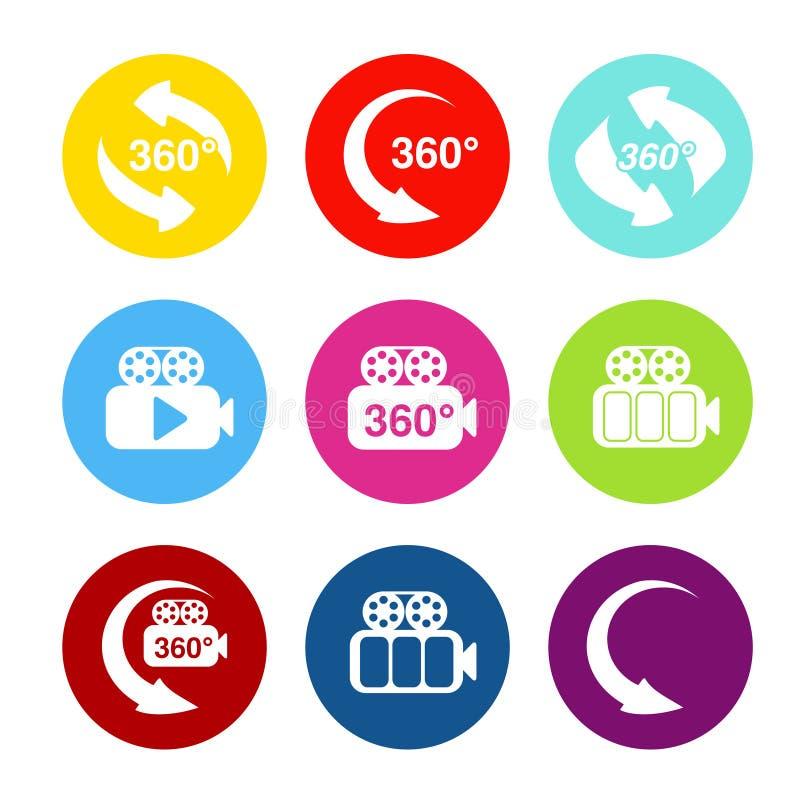 Vectorknopen voor virtuele reis Stickers met symbool van pijl en camera Rood, blauw, groen, geel, purper en roze rond etiket stock illustratie