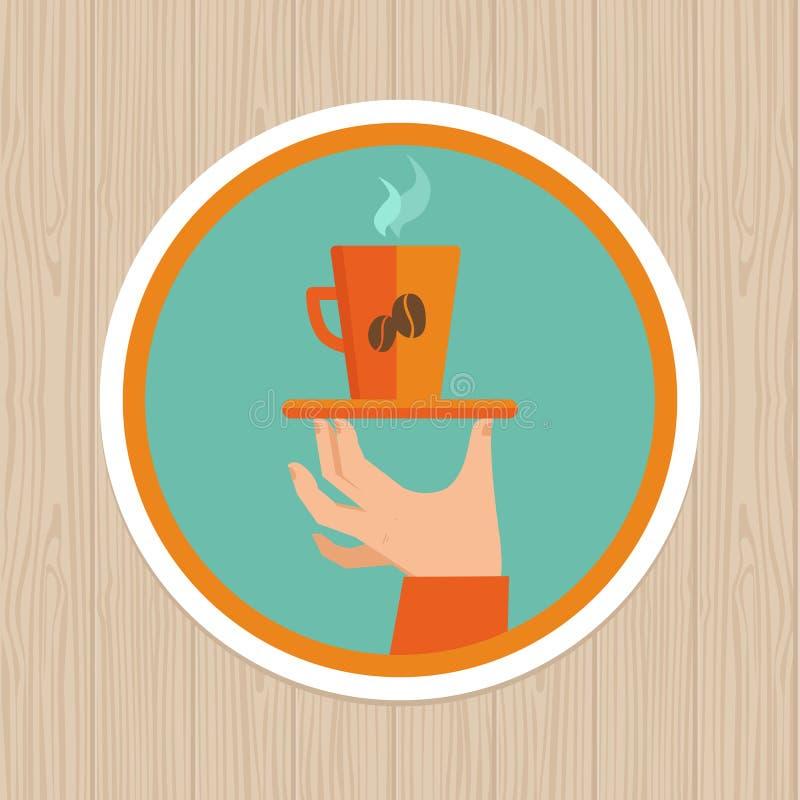 Vectorkoffiemok op rond embleem stock illustratie