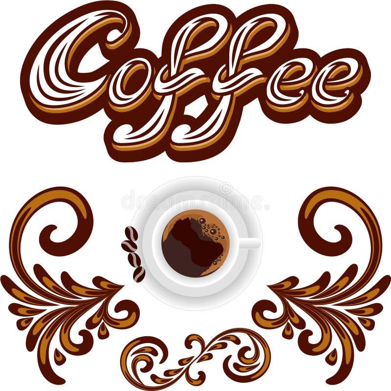 Vectorkoffiepictogram of embleem voor cafetaria of het ontwerp van het koffiemenu royalty-vrije illustratie
