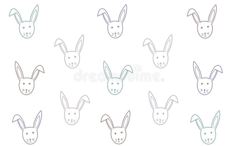 Vectorkonijntjesachtergrond Pasen-textuur De gelukkige zoete kaart van Pasen Kinderenillustratie voor patroon, groetkaarten, bann royalty-vrije illustratie