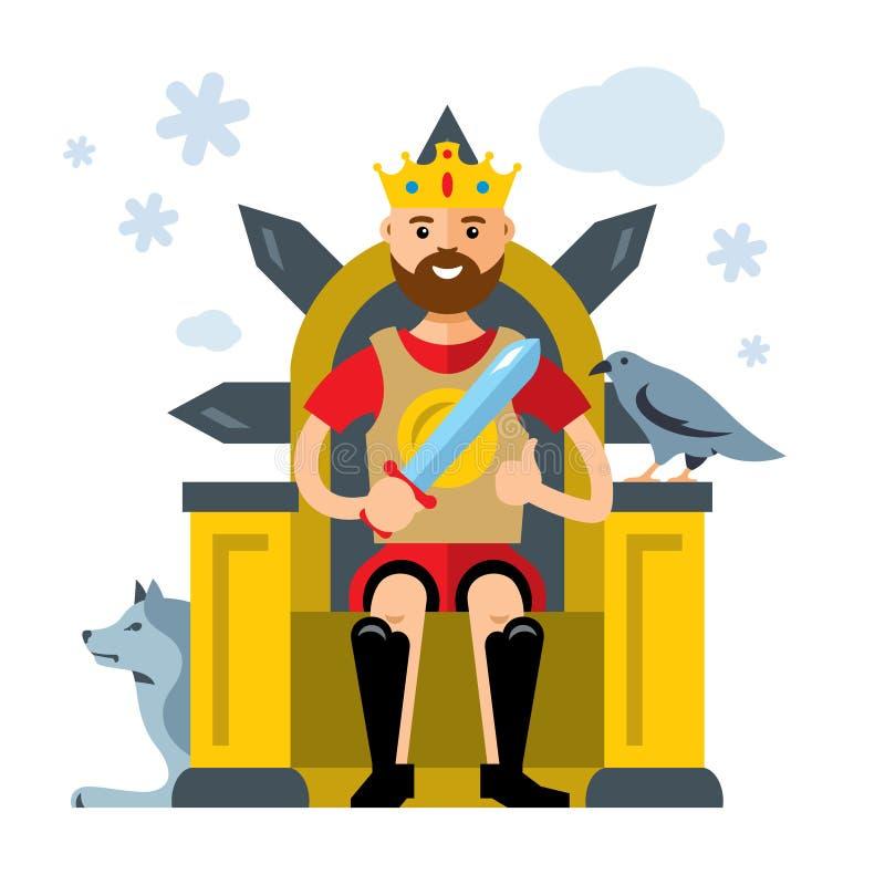 Vectorkoning op Troon De vlakke illustratie van het stijl kleurrijke Beeldverhaal royalty-vrije illustratie