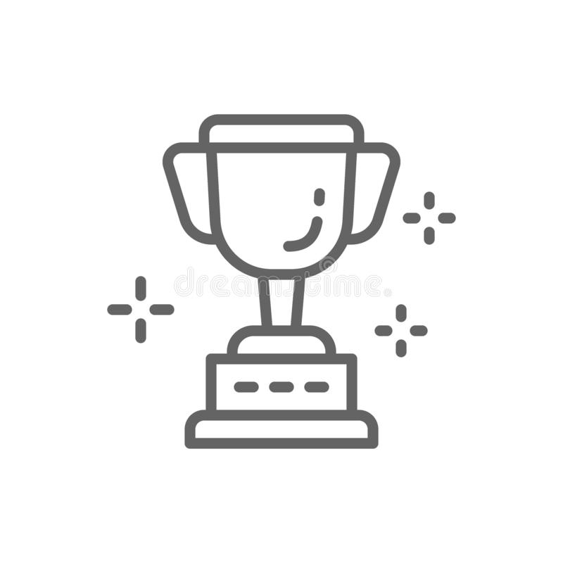Vectorkop, trofee, toekenning, het pictogram van de winnaarlijn stock illustratie