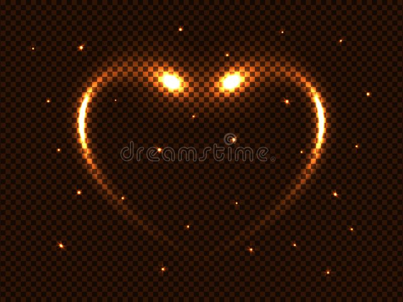 Vectorkosmos gouden magische het gloeien neonflitsen, hart en sterren, glans ruimte lichteffect voor een transparante achtergrond royalty-vrije illustratie