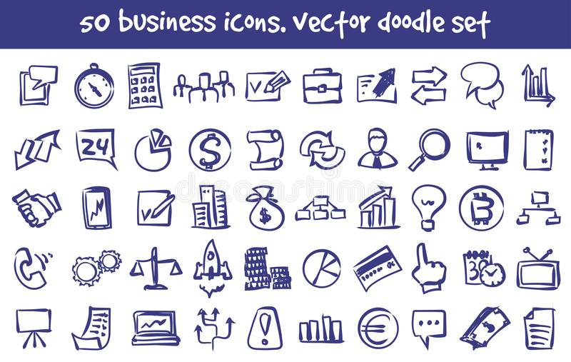 Vectorkrabbel bedrijfs geplaatste pictogrammen vector illustratie
