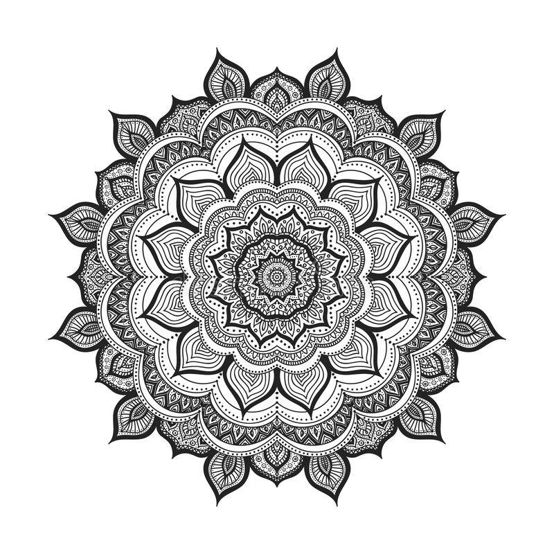 Vectorkrabbelmandala stock illustratie