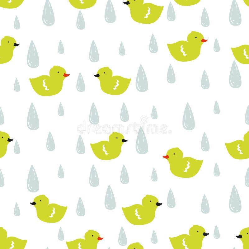 Vectorkrabbelpatroon met eendjes en regendruppels royalty-vrije illustratie