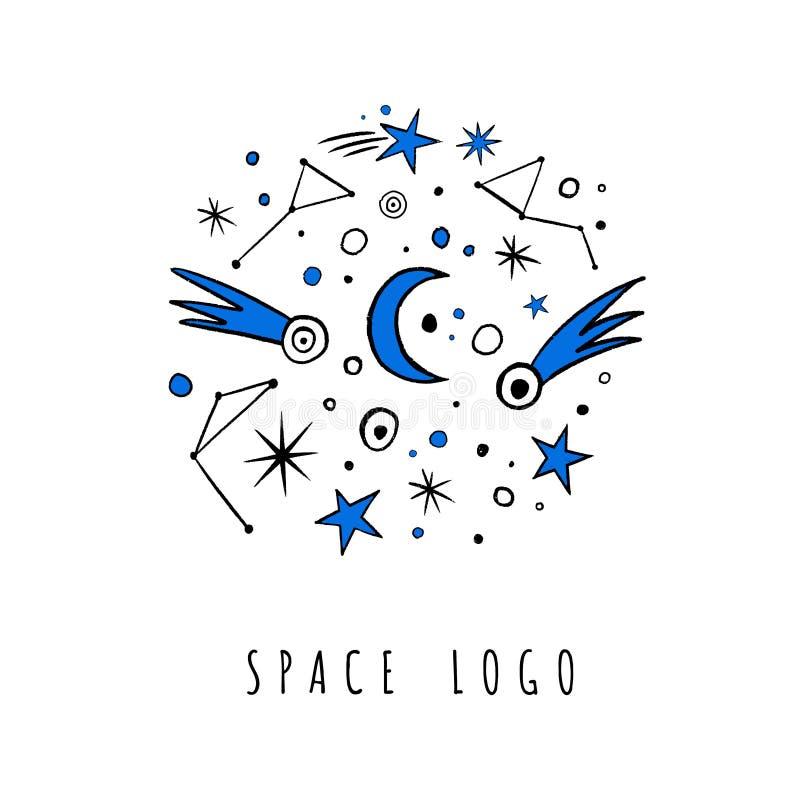 Vectorkrabbelreeks sterren, kometen, maan, dierenriem vector illustratie