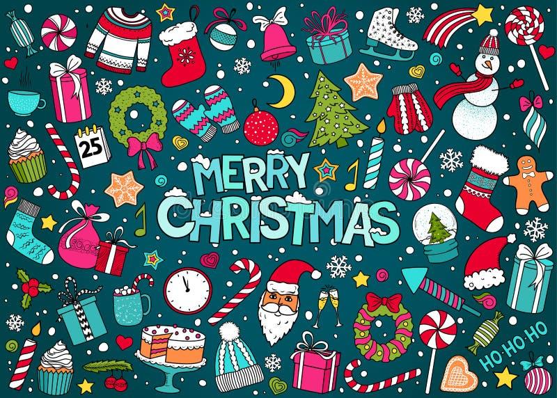 Vectorkrabbelreeks van Kerstmis en Nieuwjaar royalty-vrije illustratie