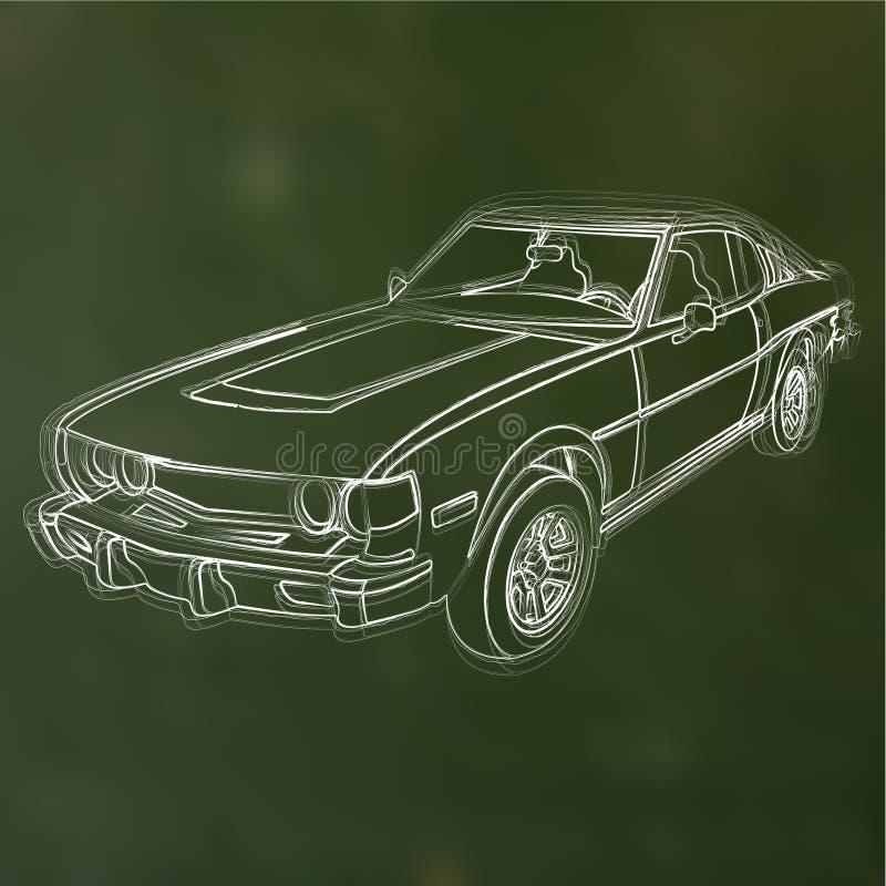 Vectorkrijt geschetste auto royalty-vrije illustratie