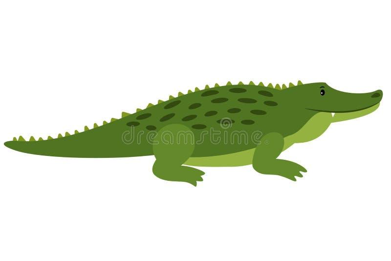 Vectorkrokodil Vector geïsoleerde beeldverhaal krokodille, Afrikaanse gator op wit royalty-vrije illustratie