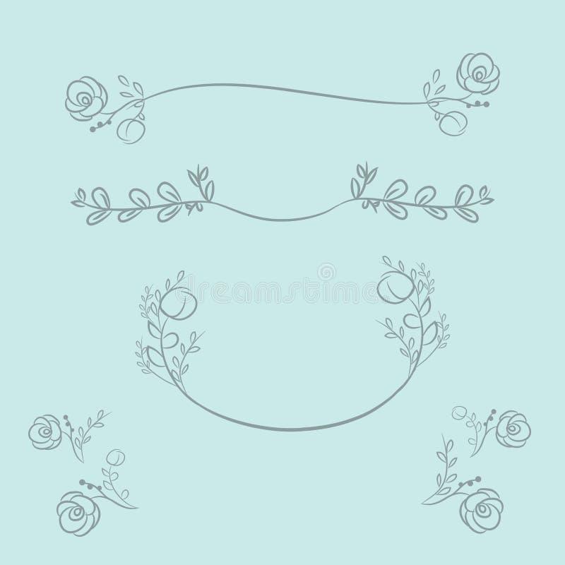 Vectorkronen en lauwerkransen Ronde bloem vectorkaders H stock illustratie