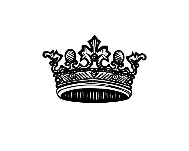 Vectorkroon De kroon van de gravurekoningin royalty-vrije illustratie
