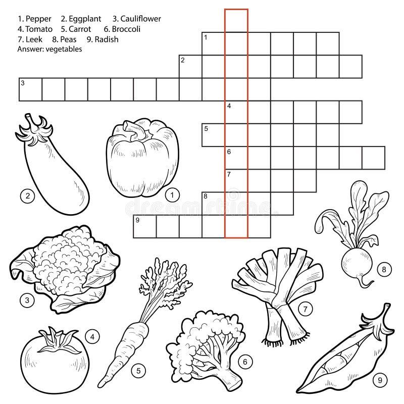 Vectorkruiswoordraadsel, spel voor kinderen over groenten stock illustratie