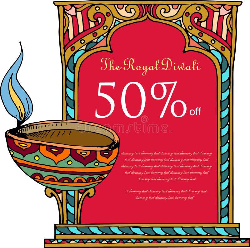 Vectorkunst van het prijskaartje/de banner van Diwali royalty-vrije illustratie