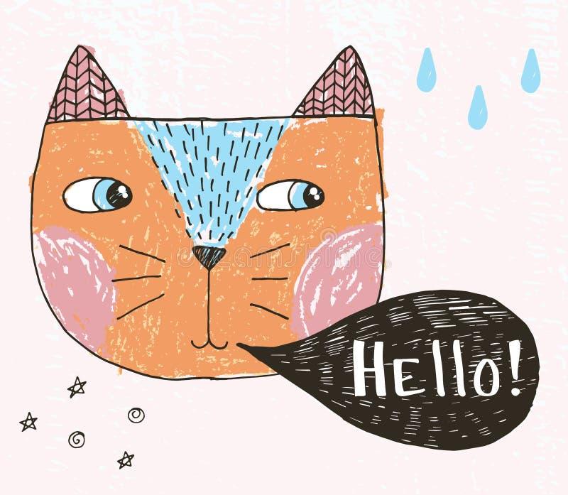 Vectorkunstillustratie die van de kat van de schetskrabbel met strippaginawolk, hello, waterdalingen, sterren, hand van letters v vector illustratie