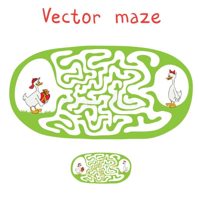 Vectorlabyrint, Labyrint met Eenden stock illustratie