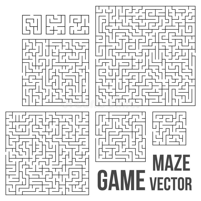Vectorlabyrint Labyrint met Ingang en Uitgang stock illustratie