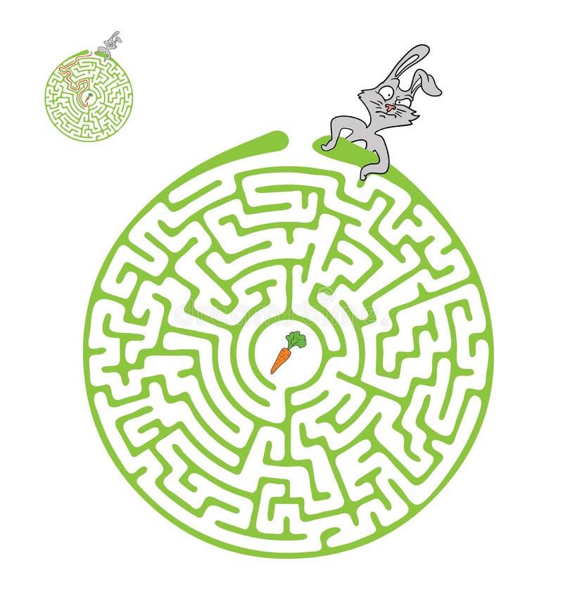 Vectorlabyrint, Labyrint met Konijn en Wortel stock illustratie
