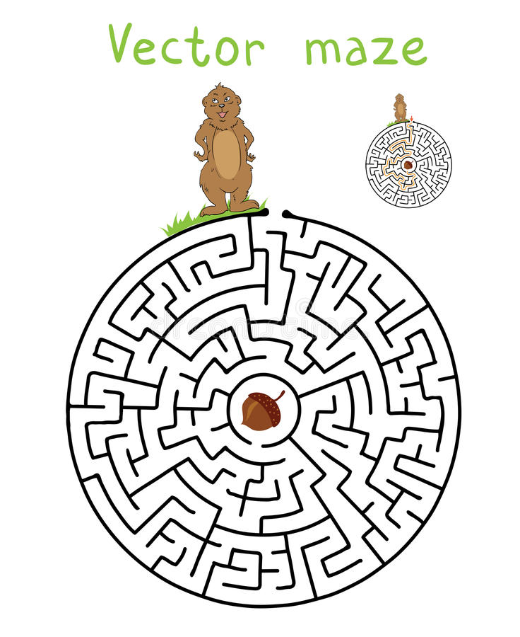 Vectorlabyrint, Labyrint met Marmot en Noot stock illustratie
