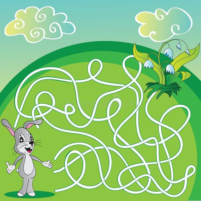 Vectorlabyrint, Labyrintspel voor Kinderen met hazen royalty-vrije illustratie