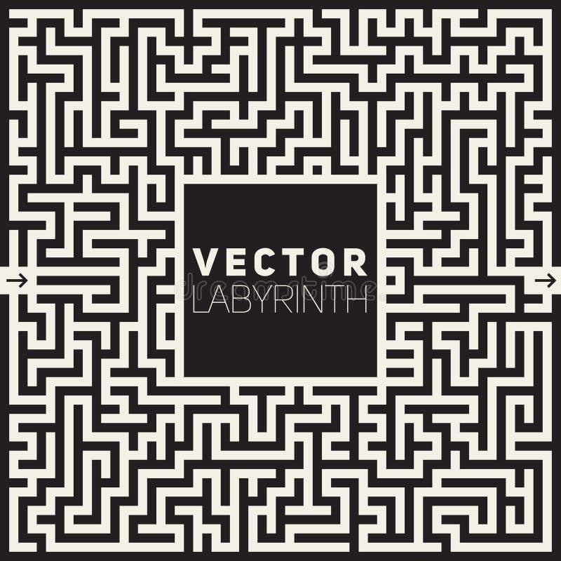 Vectorlabyrint Zwart-wit Maze Frame Background royalty-vrije illustratie