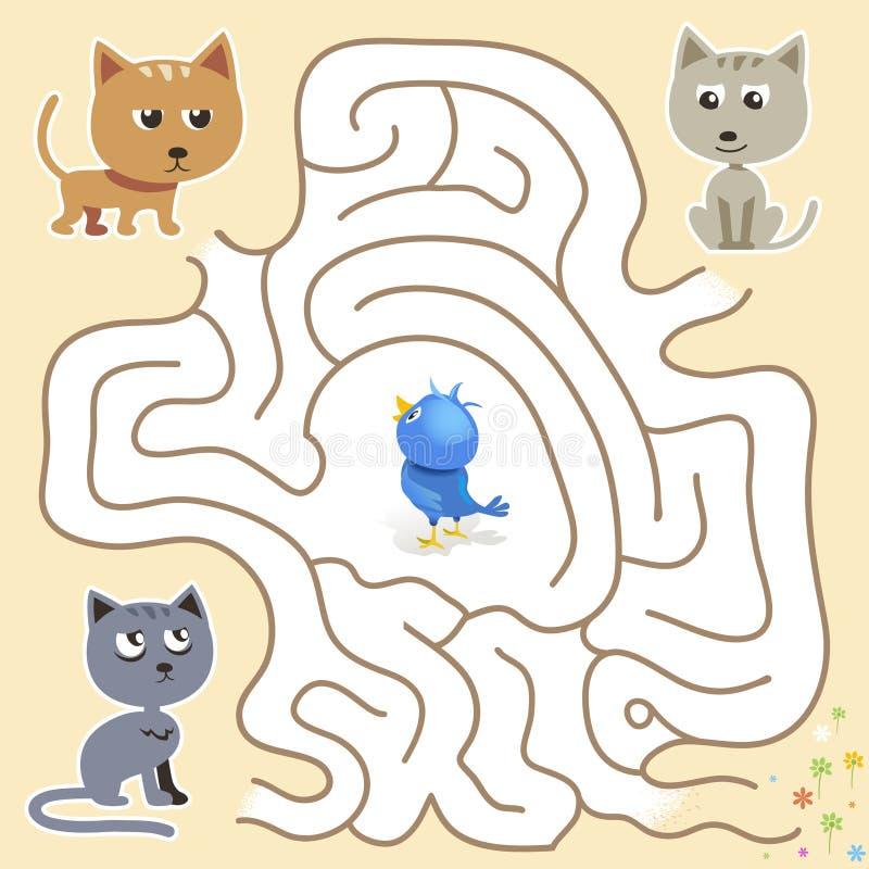 Vectorlabyrintspel: de grappige blauwe vogel vindt de manier van de kattenval vector illustratie