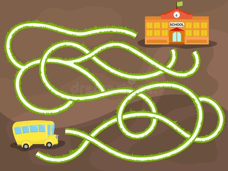 Vectorlabyrintspel met schoolbus royalty-vrije illustratie