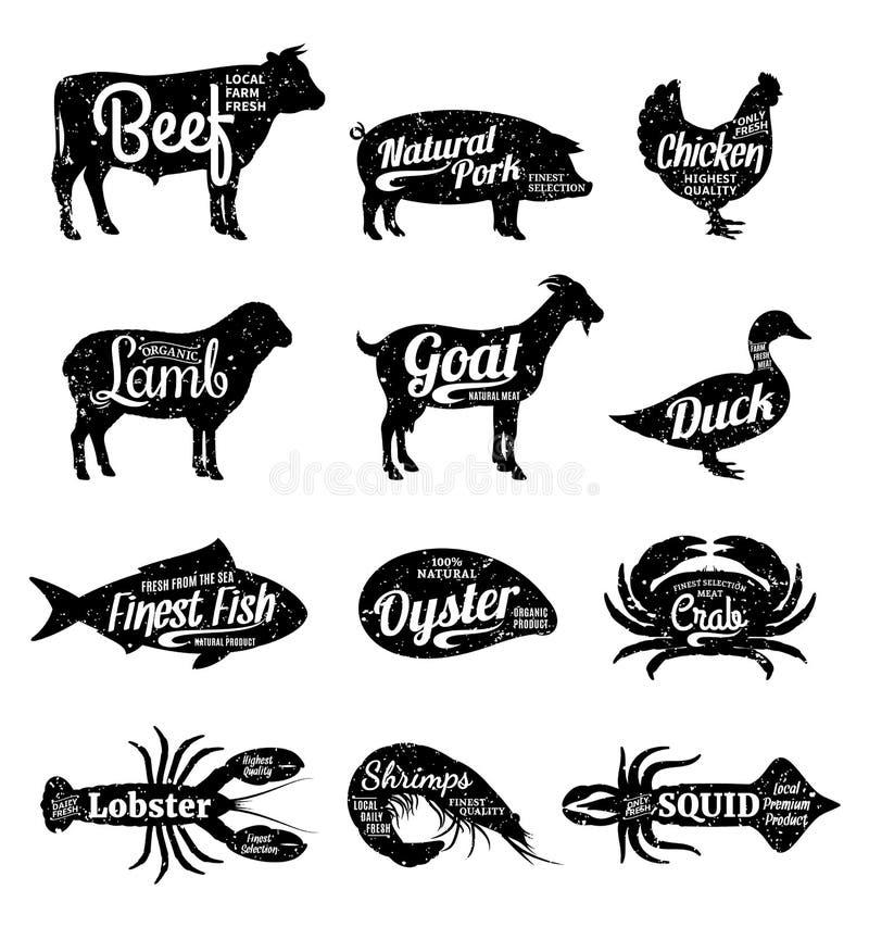 Vectorlandbouwbedrijfdieren en van Zeevruchtensilhouetten Inzameling slager royalty-vrije illustratie