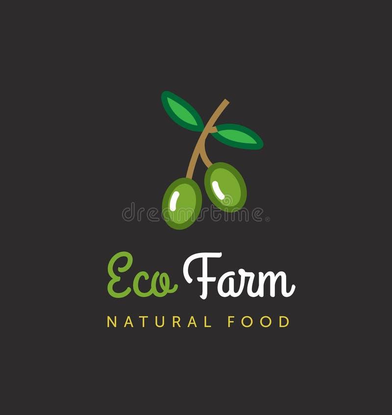 Vectorlandbouwembleem Het embleem van het Ecolandbouwbedrijf Olijfboomsymbool stock illustratie