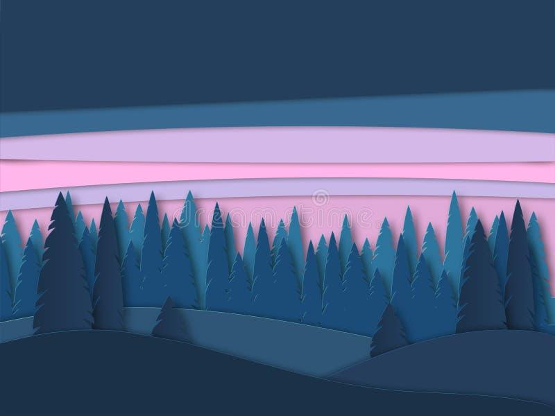 Vectorlandschap met bossilhouetten vóór zonsopgang Mooie illustratie van zonsondergang, onaangeroerde aard Openluchtscène van vector illustratie