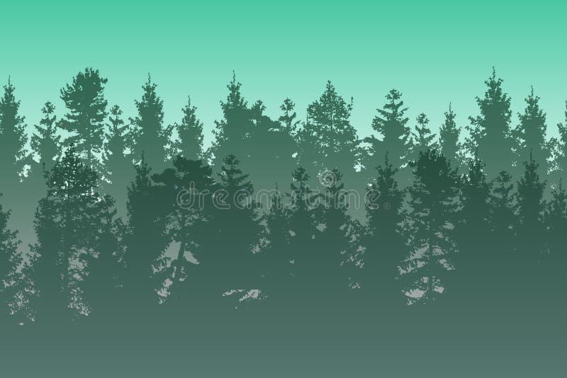 Vectorlandschap met groen gelaagd nevelig naaldbos vector illustratie