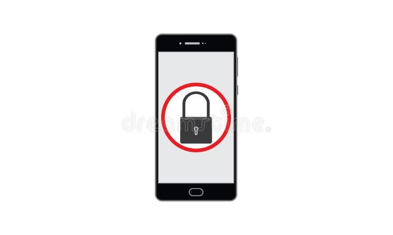 Vectorlaptop van de de Beschermingsveiligheid van de Slot Mobiele Informatie, van Persoonlijke Informatie royalty-vrije illustratie