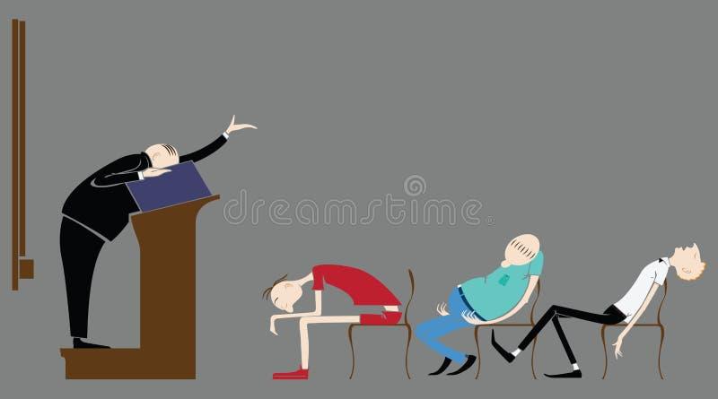 Vectorleerlingen in het klaslokaal, die in een lezingsleraar slapen vector illustratie