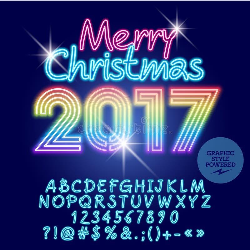Vectorlicht op de groetkaart van regenboog Vrolijke Kerstmis 2017 vector illustratie