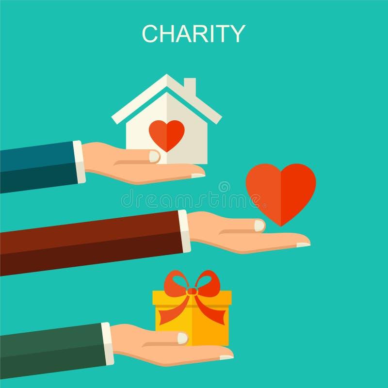 Vectorliefdadigheid en schenkingsconcept Bannerillustratie met sociale liefdadigheid en schenkingspictogrammen en symbolen, vlakk vector illustratie