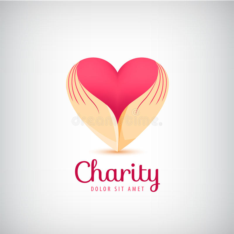 Vectorliefdadigheidsembleem 2 handen die hartpictogram houden royalty-vrije illustratie