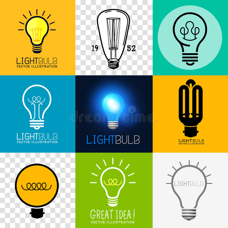 Vectorlightbulb-Inzameling stock illustratie
