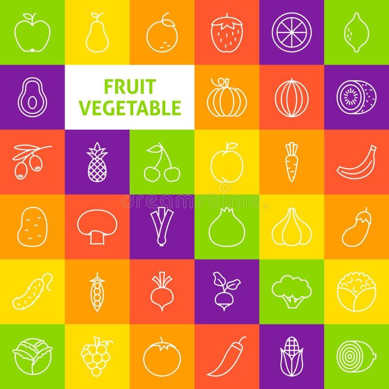Vectorlijn Art Fruit Vegetable Icons Set vector illustratie