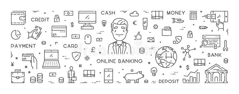 Vectorlijnbanner voor online bankwezen stock illustratie