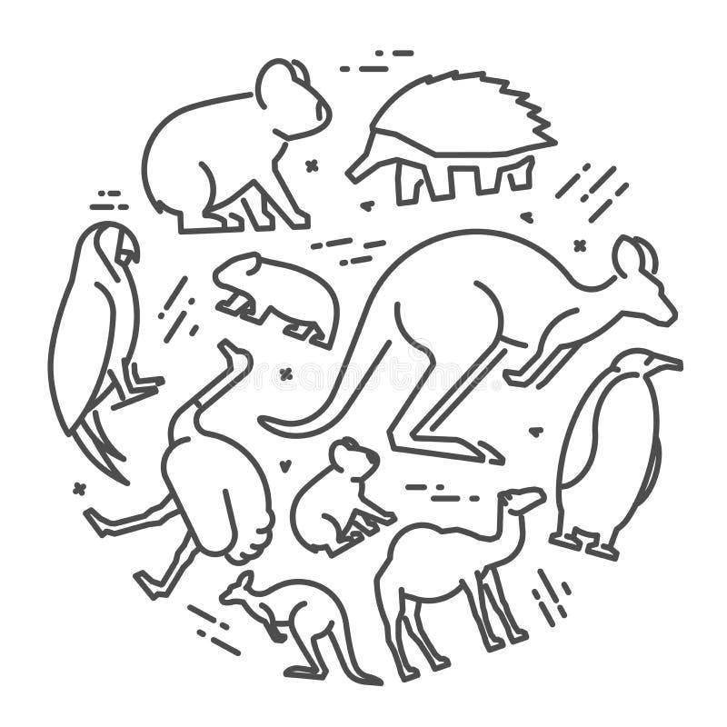 Vectorlijnconcept Australische dieren vector illustratie