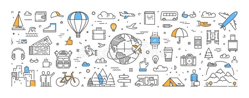 Vectorlijnconcept voor reis en toerisme stock illustratie
