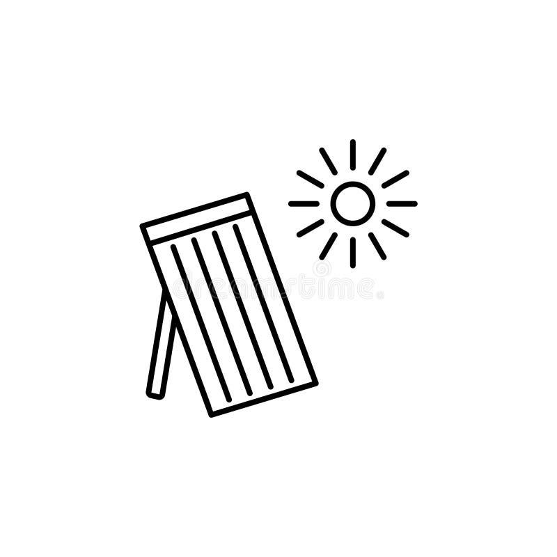 Vectorlijnillustratie van zonne thermisch paneel Huis die s verwarmen stock illustratie