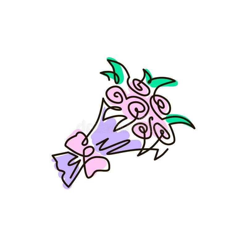 Vectorlijnpictogram Boeket van bloemen Één lijn gekleurde tekening Geïsoleerdj op witte achtergrond vector illustratie
