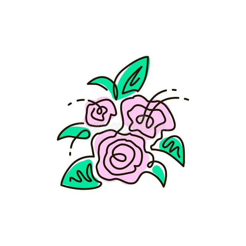 Vectorlijnpictogram Boeket van bloemen Hoogste mening Één lijn gekleurde tekening Geïsoleerdj op witte achtergrond stock illustratie