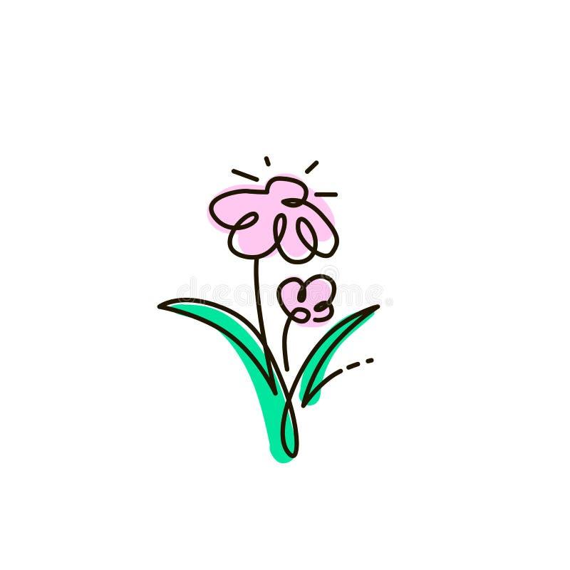 Vectorlijnpictogram Twee bloemen Het tuinieren Één lijn gekleurde tekening Geïsoleerdj op witte achtergrond vector illustratie