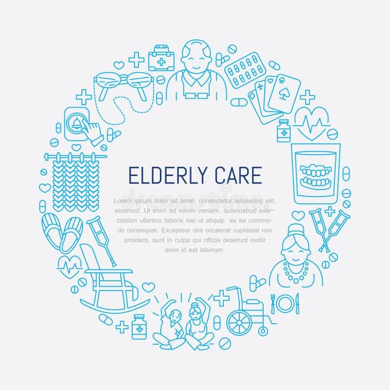Vectorlijnpictogram van hogere en bejaarde zorg Medisch affichemalplaatje met illustratie van oude mensen, rolstoel, vrije tijd,  stock illustratie